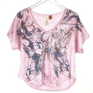 Eyeshadow Pink Sequin Butterfly Top Size Large